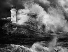 The Old Light House & The Storm (Bernai Velarde-Light Seeker) Tags: lighthouse storm sea sky blackandwhite monochrome faro tormenta mar oceano nubes blancoynegro bernai velarde