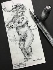 Study of a baby - Leonardo Da Vinci (schunky_monkey) Tags: fountainpen penandink ink pen illustration art study draw drawing napkin artist master sketchbook sketching sketch baby leonardodavinci davinci