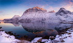 Golden hour on Grøtfjord, Norway (AdelheidS Photography) Tags: adelheidsphotography norway norge norden norwegen noorwegen norvegia noruega norsk scandinavia mountains snow winter sunset reflection