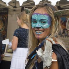 IMG_3115R (leroux.maximilien62) Tags: mervillefranceville calvados costume normandie normandy france frankreich fantasy smile sourire lächeln lipstick cornes horns hörner blau bleu blue cidreetdragons maquillage bone os dent zahn tooth