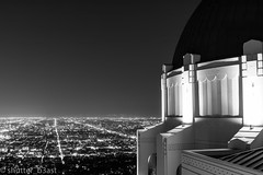 Griffith View (shutter_b3ast) Tags: griffith canon 5dmarkiv blackandwhite city nightphotography sky stars night observatory losangeles tripod