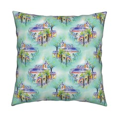 THE SPANISH VILLA DAYLIGHT Throw Pillow by Paysmage (paysmage) Tags: paysmage spoonflower roostery fabric spanish painted watercolor fabrics upholstery cotton polyester pod print printondemand aqua turquoise drawing design designers designer decoration sewing seamless stiching spring houses homedeco home villa tropical