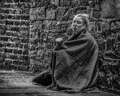 Although homelessness can happen to anyone, it just wasn't expected.~Linda Lewis~ (Lorrainemorris) Tags: hunting lorrainemorris streetpeople brick streetportrait portrait expression quotes angel poor cold city dublin blackandwhite monochrome nighttime wall gritty emotion soul zeiss zeissbatis85 sonyilce sony7rm2 streetphotography candidphotography candid streets mono homeless