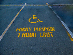 Ride That Funky Pumpkin White Boy (Steve Taylor (Photography)) Tags: playthatfunkymusicwhiteboy wildcherry funkypumpkin 1hourlimit handicapparking handicapspot wheelchair sign stencil symbol carpark yellow tarmac newzealand nz southisland canterbury christchurch newbrighton shape