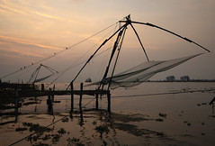 Chinese Fishing Nets Sunset (Kev Gregory (General)) Tags: chinese fish fishing nets cochin india lift coast coastal southern sunset sun set shore operated net cantilever fishermen kev gregory canon 6d mark ii asia asian
