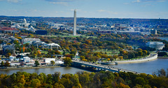 Washington DC viewed from Observation Deck at CEB Tower Rosslyn VA (mbell1975) Tags: arlingtoncounty virginia unitedstates us washington dc viewed from observation deck ceb tower rosslyn va washingtondc usa america arlington potomac river water monument memorial capital capitol building congress aerial view city skyline fall autumn color colors colour colours tree trees leaves leafs