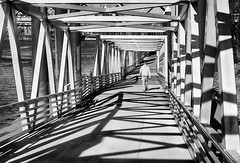 Ramping Down (Ian Sane) Tags: ian sane images rampingdown ramp bridge sunlight shadows perspective willamette river vera katz eastbank esplanade portland oregon blackwhite candid street photography canon eos 5ds r camera ef50mm f14 usm lens