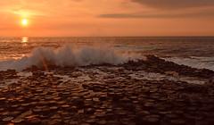 Irlande - Giant's Causeway - Chaussée des Géants (AlCapitol) Tags: irlande nikon d810 giantscauseway chausséedesgéants sunset basalte colonnebasaltique sea
