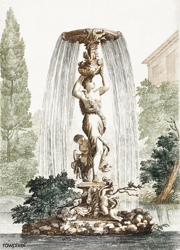 Fountain with Venus and Amor (1688-1698) by Johan Teyler (1648-1709). Original from The Rijksmuseum. Digitally enhanced by rawpixel.
