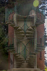 double spiral stairway (ikarusmedia) Tags: tower double stairs stairway spiral concrete brick reflection trees panoayan estate amecameca state mexico building