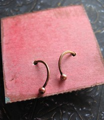 20 gauge 14mm ant red brass ball tipped mini ear hoops 1 (msficklemedia) Tags: handforged artisanjewelry handcrafted earrings recycledmetal stone beads sterling silver missficklemedia