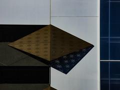 Diamond Stars (Steve Taylor (Photography)) Tags: architecture design building wall window gold blue black white metal glass facade newzealand nz southisland canterbury christchurch city cbd diamond shape star shadow pattern