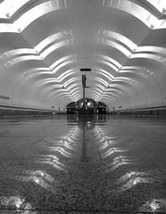 "Moscow. Metro station ""Lesoparkovaya"" (msergeevna) Tags: metro prestigio moscow russia monochrome architecture underground"