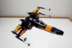 (Improved) Poe Dameron's X-wing: Combat Mode Top-Right Tilted View (Evrant) Tags: lego star wars custom x wing t70 t 70 moc bb8 poe dameron black one spaceship starship ship starfighter evrant