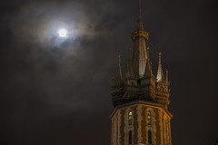 Trumpeter's Time with December Full Moon, in Krakow, Poland (n.pantazis) Tags: krakow poland pentaxk70 sigma cathedral church clouds cloudy moon fullmoon december