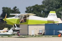 C-FYGY - 1971 build Wittman W.8 Tailwind, arriving on Runway 27 at Oshkosh during Airventure 2018 (egcc) Tags: 010254 airventure airventure2018 cfygy eaa homebuilt kosh lightroom osh oshkosh riley scoles tailwind w8 wittman