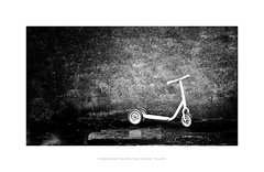Remember when you were young (RichardK2018) Tags: photoshopexpress olympusem1mk2 scooter derbyshire monochrome 164 zuiko75mm snapseed ipadproedit blackandwhite highcontrast byn abandoned