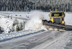Snowplow rounding a corner on the Icefields Parkway (PhotosToArtByMike) Tags: icefieldsparkway snowplow plow snow banffnationalpark canadianrockies banff albertacanada mountain mountains alberta
