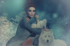 Cynnamon~WinterWhiteFurryFriends (Skip Staheli *10 YEARS SL PHOTOGRAPHER*) Tags: cynnamonmelody winter snow blue redhead animal avatar virtualworld dreamy digitalpainting cold skipstaheli secondlife sl wolf squirel