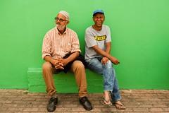 Bo-Kaap (.sl.) Tags: cap hat friendship friend old green afriquedusud bokaap capetown people portrait streetphotograghy southafrica men color bench sidewalk