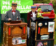 Charity collectors (Snapshooter46) Tags: macmillancancersupport charitycollectors people streetorgan streetmusicians organists mechanicalmusic boater