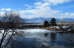 Thin Ice (Patricia Henschen) Tags: winter snow kettlelakes usairforceacademy usafa coloradosprings colorado lake pond ice water shadow reflection cloud clouds mountain rampartrange park front range