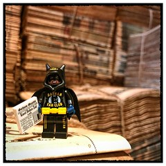 So many newspapers to read... (hd_lego) Tags: paper toutenbriques museedelaviewallonne liege soccermom toyphotography dccomics comics batman batgirl newspaper minifigures hdlego lego