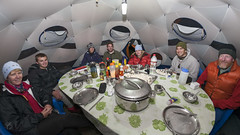 Soup time in the dining tent (Jamie @project-himalaya.com) Tags: projecthimalaya 2007shishapangmaexpedition anneperry canonef15mmf28fisheye canoneos5d ef15mmf28fisheye ericalokremza jamesnettleton jenhargrove tristanbamford dxo11 dxocorrectedfisheye ursulamacpherson xizangtibet china