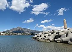 Rocky Tower! ('cosmicgirl1960' NEW CANON CAMERA) Tags: blue sea sky clouds white marbella spain espana andalusia puertobanus costadelsol travel holidays beach seaside yabbadabbadoo