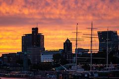 Hamburg is burning (Carandoom) Tags: hamburg city sunset burning red elbe river port boat sky clouds sony alpha7 a7 iii