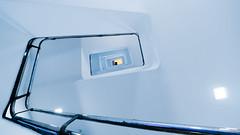 balustrade (m_laRs_k) Tags: rail balustrade blue yellow 169 olympus penf 714mm 7mm superwide nyc brooklyn brooklynmuseum usa chromecameraprofiel escher gödel bach