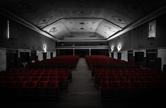 Not sold  out - Tickets available...maybe (michael_hamburg69) Tags: lostplace offthemap abandonedplace urbanexploration urbex verfall decay beautyofdecay gssd barracksbuilding theater seat red sitze rot sitzreihen stage colorkey phototourmit3daybeard3tagebart