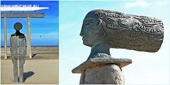 'De man die de boot zag, in de lucht' – Jean Bilquin, exposition Beaufort, Zeebruges, Belgium (claude lina) Tags: claudelina belgium belgique belgië zeebruges mer sea merdunord noordzee bruges plage sable cabine jeanbilquin oeuvre art sculpture demandiedebootzagindelucht