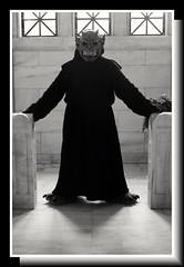 Paradox First Time Out (PhotoJester40) Tags: indoors inside gargoyle costume mask bnw blacknwhite blackandwhite bw blackwhite amdphotographer monster mausoleum noirblanc paradox