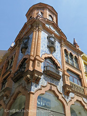 Building, Seville, Spain (geoff-inOz) Tags: seville architecture heritage building blue ceramic tiles andalusia spain historic