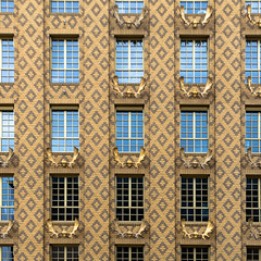 facade (morbs06) Tags: dasgelbehaus derendorf düsseldorf petzinka abstract architecture brick building city colour facade gelb light lines pattern repetition square stripes texture windows yellow reflections elk antlers