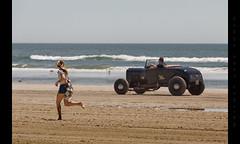 Girl vs Car (Whitney Lake) Tags: girl hotrod retro antique vintage dragrace beach ocean atlantic eastcoast jerseyshore southjersey newjersey wildwoods 2017 theraceofgentlemen trog