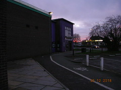 DSCN6146 (southglosguytwo) Tags: 2018 buildings december hometown leisurecentre signs sky sundown southgloucestershire yate trees