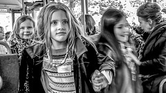 Girls on the bus in Stockholm, Sweden 14/10 2015. (photoola) Tags: stockholm buss barn street sv monochrome blackandwhite photoola sweden bus