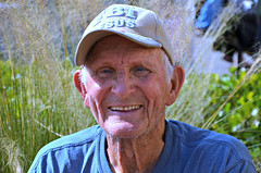 Ninety-five Year Old Tent Preacher (forestforthetress) Tags: man face portrait outdoor color hat religion preacher elderly old seniorcitizen
