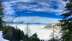 Winter panorama over cloud filled Kaiser valley in Tyrol, Austria (UweBKK (α 77 on )) Tags: österreich kaisertal kaiser valley tal clouds above tree forest mountain panorama view scene scenery scenic landscape winter snow icesky blue white tirol tyrol austria europe europa iphone