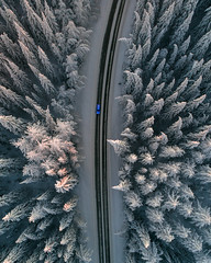 Blue and white (Jontsse) Tags: aerialphotography aerial aerialview drone droneshot dronephotography dji winter white suomi sunset snow multicopter quadcopter road car fc6310 finland forest birdview above phantom phantom4pro photography phantom4