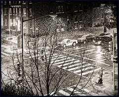 Project 365 Day 012: A Snowy Night (Rex Block) Tags: asnowynight nikon d750 dslr 50mm f18g dc washington snow walk intersection night pedestrian 15thstreet project365 365the2019edition 3652019 monochrome bw 12jan19 day12365