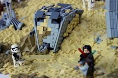 Downed AT-ST covered in sand (First Order Lego) Tags: lego starwars legomoc jakku legobattlefront2 epic cool