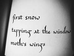 """""""first snow"""" from my new book Wishbones ~ #WishbonesHaiku #Wishbones #FoldedWord #Haiku #Snow (Ben Moeller-Gaa) Tags: wishboneshaiku wishbones foldedword haiku snow"""