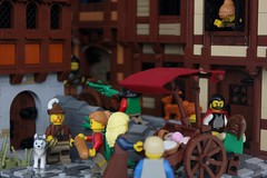 CCC XVI: Fresh Baked Goods! (-soccerkid6) Tags: lego ccc colossal castle contest xvi roof street medieval european city scene cobblestone wall tudor building buildings houses cart home snot baker chimney mitgardia mitgardian