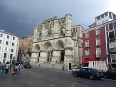 Cuenca Cathedral and adjacent buildings, Plaza Mayor (d.kevan) Tags: cathedral stjulian 12thcentury archtecturaldetails decorativedetails arches columns people rosewindows carvings building statues bishops stmary steps entrances doors plazamayor buildings roofstructures streetscenes cars terraces sunumbrellas barsandrestaurants cuenca