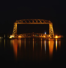Pre-dawn Aerial Lift Bridge - Duluth, MN (j-rye) Tags: greatlakes lakesuperior water bridge steel port sonyalpha sonya7rm2 ilce7rm2 mirrorless reflection longexposure
