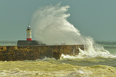 Storm (Croydon Clicker) Tags: storm sea ocean waves harbour wall lighthouse crashing tempest sky turbulent wet water