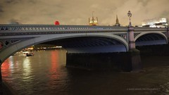 Beyond the Bridge (Mars Mann) Tags: riverthames london sky nightphotography clouds innercity lights reflection red westminsterbridge flickrmarsmann micro43 composition water nocturnal lightshadow capture